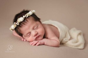 Baby girl on brown Newborn photography Coalville, Leicestershire